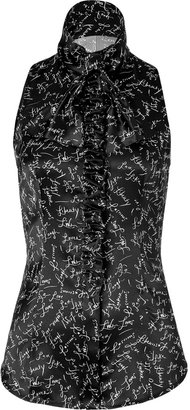 L'Wren Scott LWren Scott Black/White Signature Silk Top with Ruffle