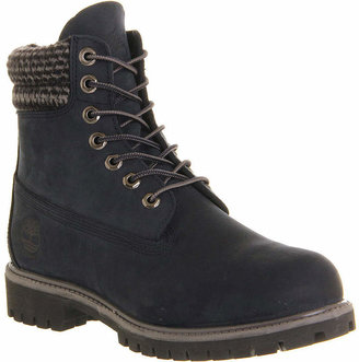 Timberland 6 Inch Double Collar Boots Navy Nubuck Plaid