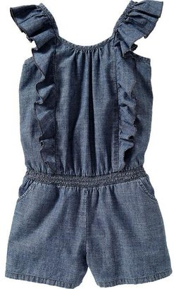 Old Navy Girls Ruffled Chambray Rompers