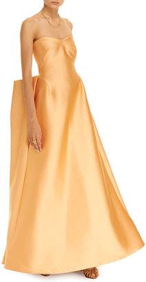 Zac Posen Pleat-Back Duchesse-Satin Gown