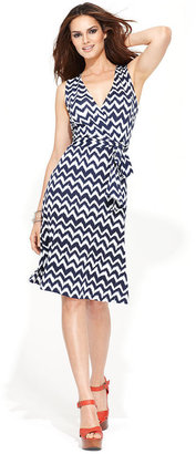 INC International Concepts Dress, Sleeveless Printed Faux-Wrap