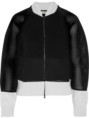 Fendi Mesh-paneled wool-blend bomber jacket