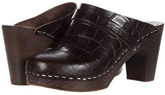 Swedish Hasbeens Slip In (Dark Brown Croc/Dark Brown Sole) Women's Clog Shoes