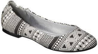 Mossimo Women's Ona Side Scrunch Ballet Flat - Black/White