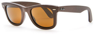 Ray-Ban Leather-Wrapped Wayfarer Sunglasses, Brown