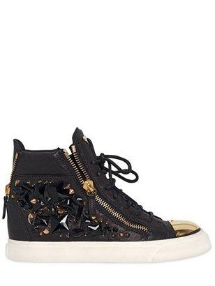 Giuseppe Zanotti 20mm Studs & Leather High Top Sneakers