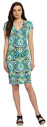 Jones New York Signature Petites Printed Faux-Wrap Dress