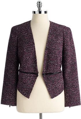 Calvin Klein SUITS Plus-Size Tweed Convertible Jacket