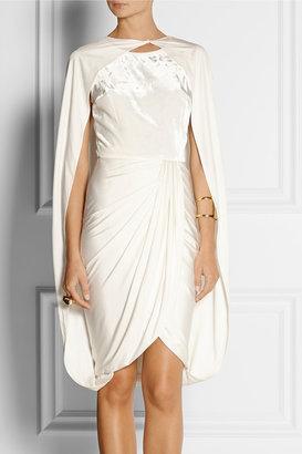 Giambattista Valli Convertible silk-jersey and velvet cape dress