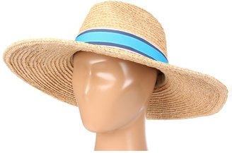 Hat Attack Raffia Braid Continental Fedora W/Stripe Ribbon Trim (Natural/Cool Stripes) - Hats