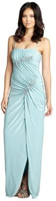 Mignon aqua jersey knit shirred crystal embellished strapless gown