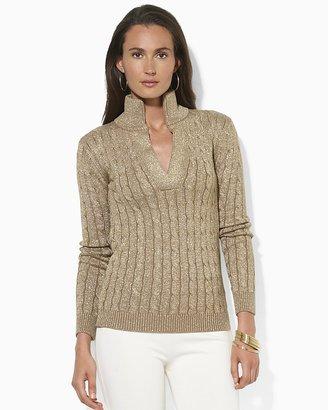 Lauren Ralph Lauren Split Mockneck Metallic Cable-Knit Sweater