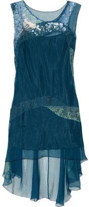Alberta Ferretti Lace-trimmed silk-chiffon top