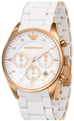 Emporio Armani Ladies' Round Stainless Steel Chronograph Watch, 38mm