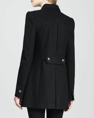 Rachel Zoe Monaco Leather-Panel Coat