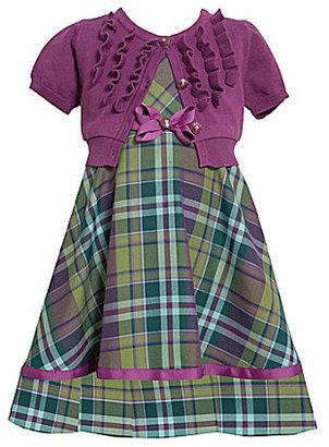 Bonnie Jean 7-16 Solid Cardigan & Plaid Dress Set
