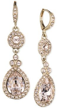Givenchy Silver-Tone Crystal Element Double Drop Earrings
