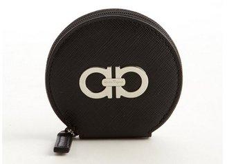Salvatore Ferragamo black leather logo imprinted zipper circle wallet