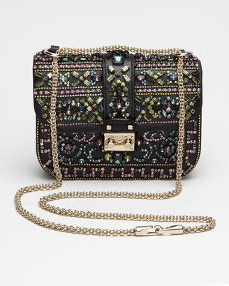 Valentino Crystal-Covered Glam Lock Crossbody Bag