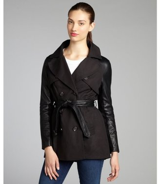 Dawn Levy black cotton twill and leather sleeve short trench coat