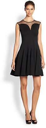 Halston Ponte Cap-Sleeve Dress