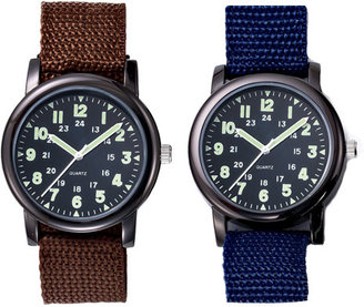 Avon Military Style Canvas Strap Watch in Blue & Brown