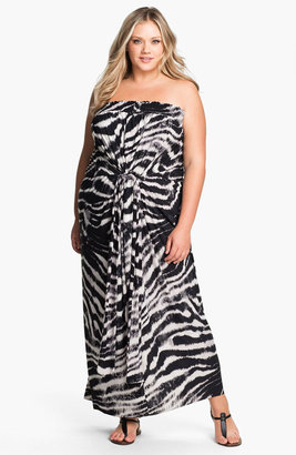 T-Bags Tbags Los Angeles Tie Waist Strapless Maxi Dress (Plus)