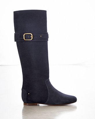 Chloé Paddington Suede Flat Knee Boot, Navy