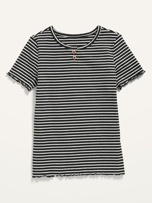 Old Navy Striped Rib-Knit Short-Sleeve Henley for Girls