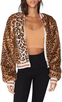 Spiritual Gangster Furry Faux Fur Bomber Jacket