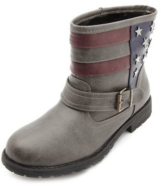 Charlotte Russe Bamboo Star-Studded Americana Ankle Boots