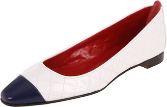 Manolo Blahnik Cap Toe Quilted Patent Leather Flat