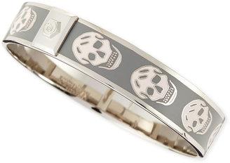 Alexander McQueen Small Enamel Skull Bangle, Pale Beige