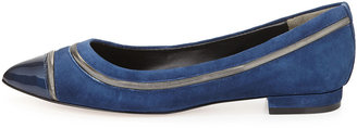 Pour La Victoire Ritz Pointy-Toe Suede Flat, Midnight