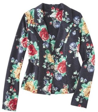 Xhilaration Juniors Knit Blazer - Blue Floral