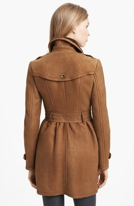 Burberry 'Feering' Genuine Shearling Trench Coat