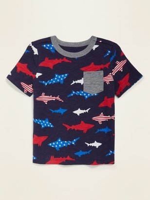 Old Navy Shark-Print Pocket Tee for Toddler Boys