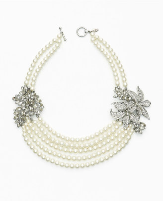 Ann Taylor Dancing Floral Pearlized Statement Necklace