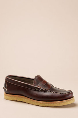 Lands' End Men's Oak Street Bootmakers Brown Crepe Sole Beefroll Penny Loafer