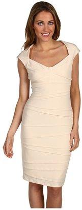 Jax Pleated Jersey Cap Sleeve Dress (Bone) - Apparel