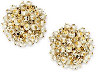 Charter Club Gold-Tone Glass Pearl Clip-On Earrings