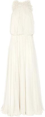 Chloé Flower-appliquéd silk-mousseline gown