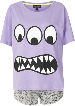 Topshop Monster Print PJ Set