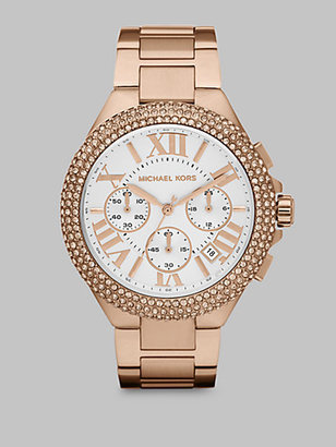Michael Kors Crystal Stainless Steel Chronograph Watch/Rose Goldtone