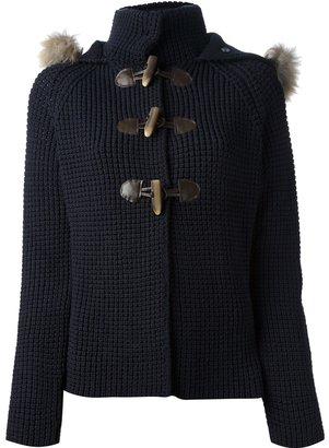 Woolrich fur trim hood cardigan