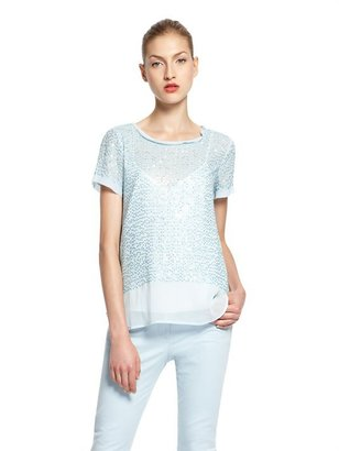 DKNY Lightweight Stretch Georgette Sequined S/S Scoopneck Blouse