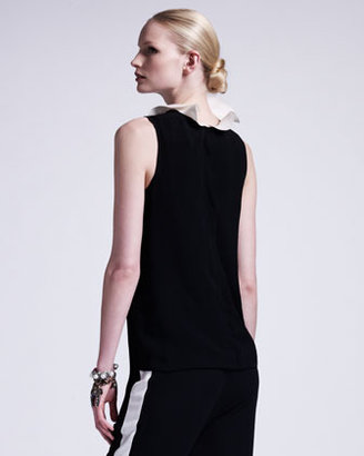 Lanvin Ruffle-Collared Sleeveless Blouse