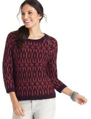 LOFT Geometric Stitch 3/4 Sleeve Sweater