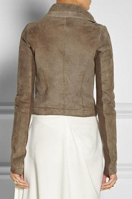 Rick Owens Shearling-lined leather biker jacket
