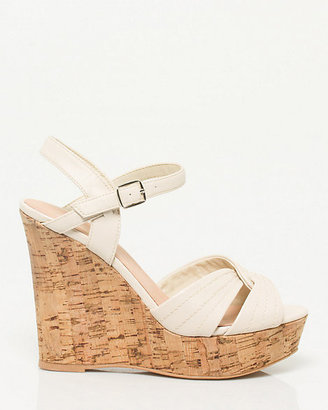 Le Château Faux Leather Ankle Strap Wedge